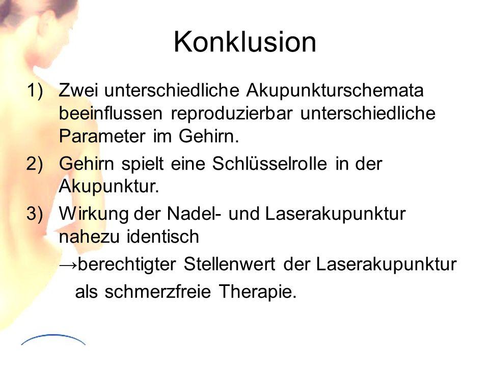 Konklusion Zwei unterschiedliche Akupunkturschemata beeinflussen reproduzierbar unterschiedliche Parameter im Gehirn.