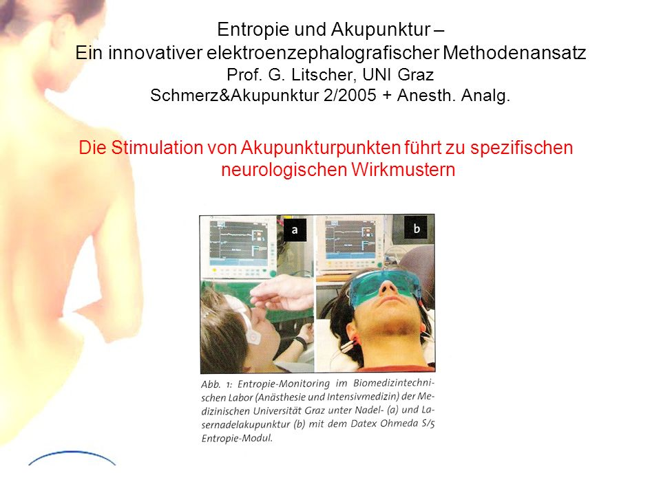 Entropie und Akupunktur – Ein innovativer elektroenzephalografischer Methodenansatz Prof. G. Litscher, UNI Graz Schmerz&Akupunktur 2/2005 + Anesth. Analg.