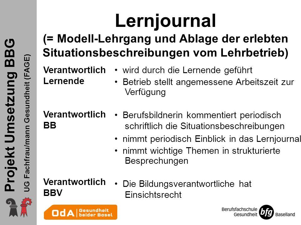 Lernjournal (= Modell-Lehrgang und Ablage der erlebten Situationsbeschreibungen vom Lehrbetrieb)