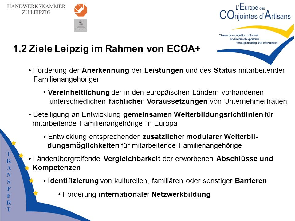1.2 Ziele Leipzig im Rahmen von ECOA+