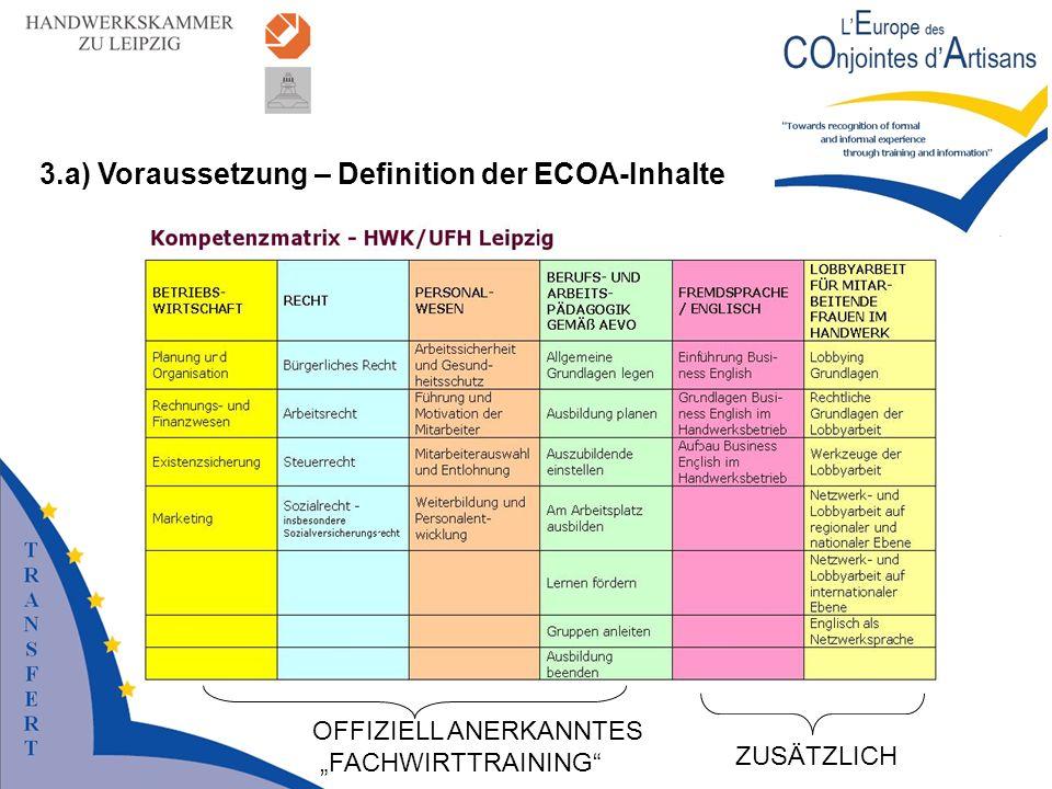 3.a) Voraussetzung – Definition der ECOA-Inhalte