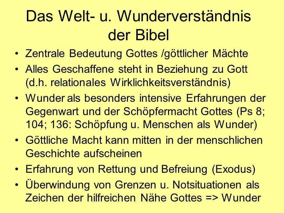 Das Welt- u. Wunderverständnis der Bibel