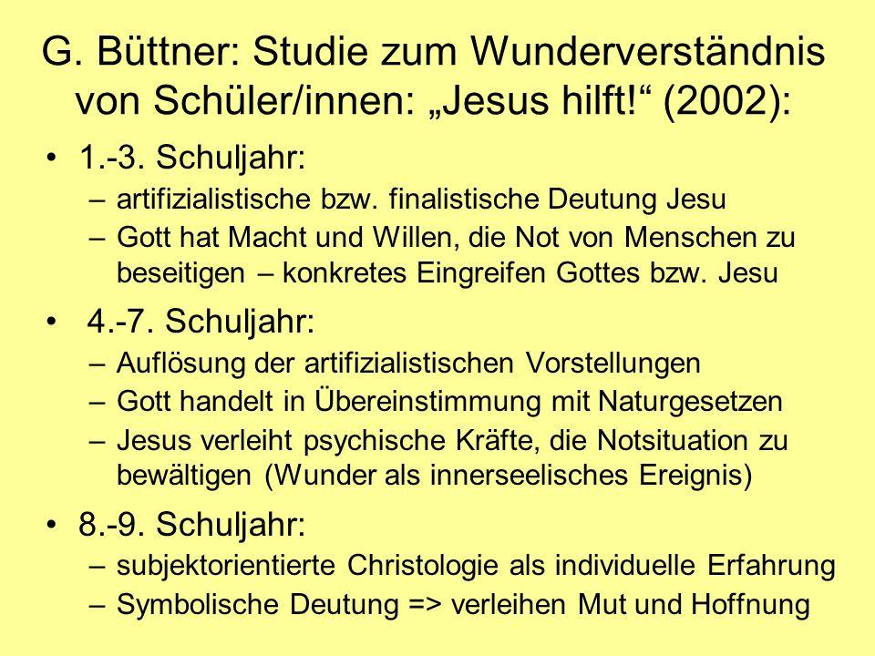 """G. Büttner: Studie zum Wunderverständnis von Schüler/innen: """"Jesus hilft! (2002):"""