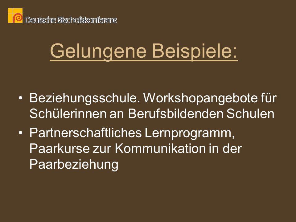 Gelungene Beispiele: Beziehungsschule. Workshopangebote für Schülerinnen an Berufsbildenden Schulen.