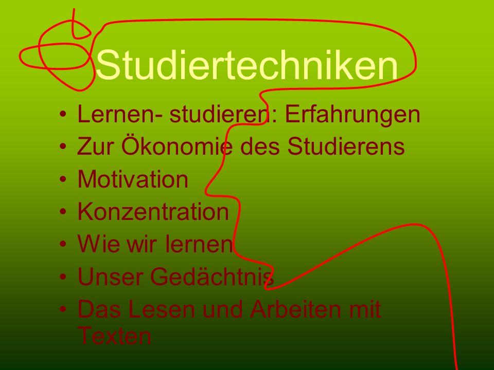 Studiertechniken Lernen- studieren: Erfahrungen