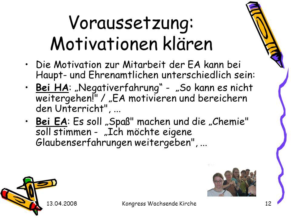 Voraussetzung: Motivationen klären