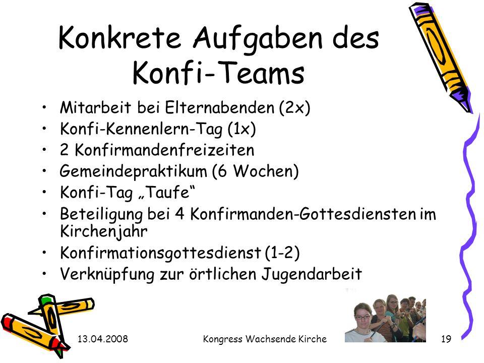 Konkrete Aufgaben des Konfi-Teams