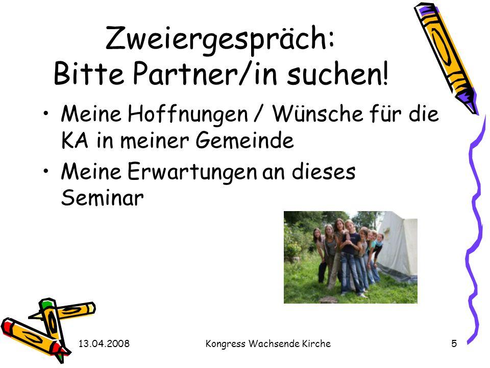 Zweiergespräch: Bitte Partner/in suchen!