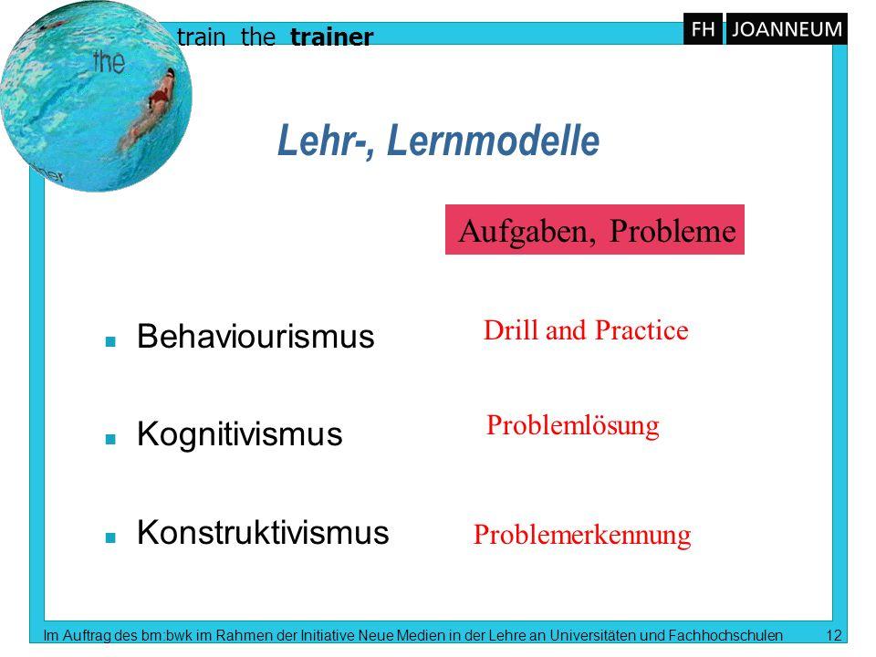 Lehr-, Lernmodelle Aufgaben, Probleme Behaviourismus Kognitivismus