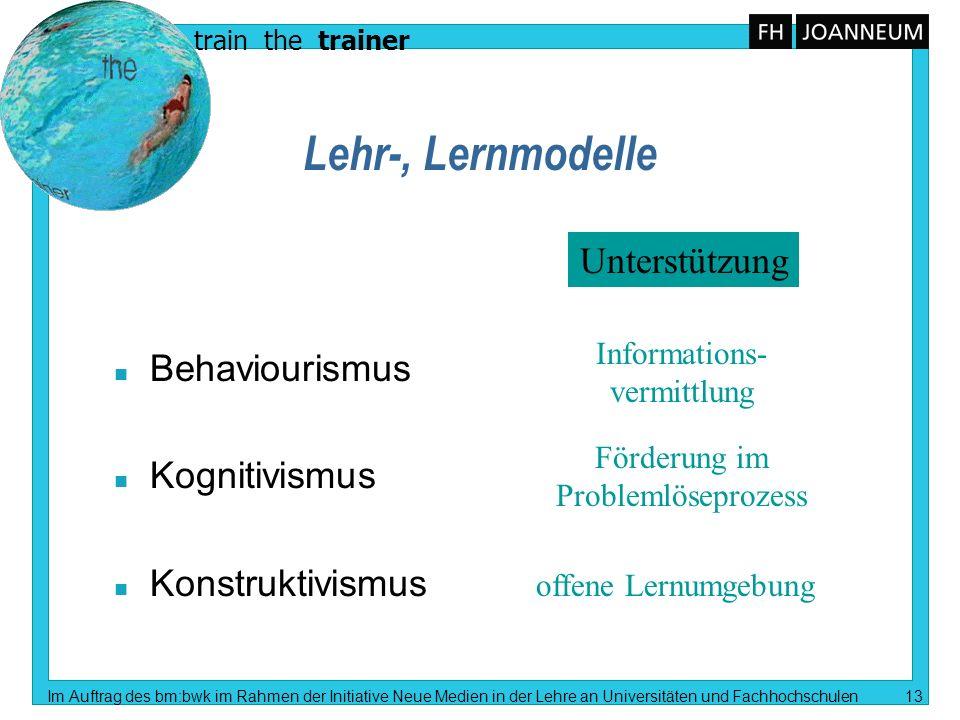 Lehr-, Lernmodelle Unterstützung Behaviourismus Kognitivismus