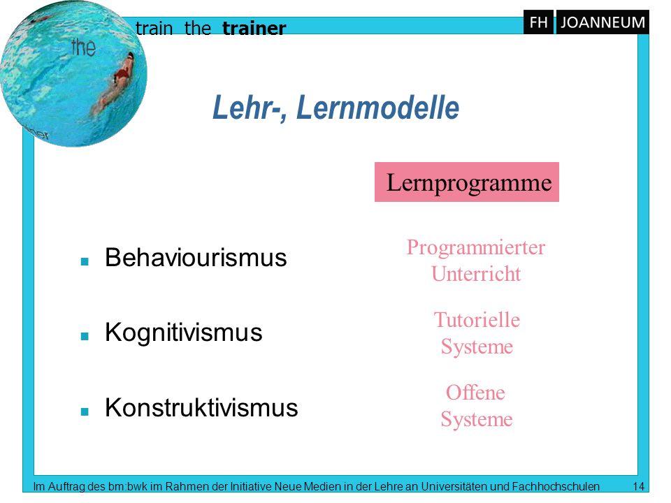 Lehr-, Lernmodelle Lernprogramme Behaviourismus Kognitivismus