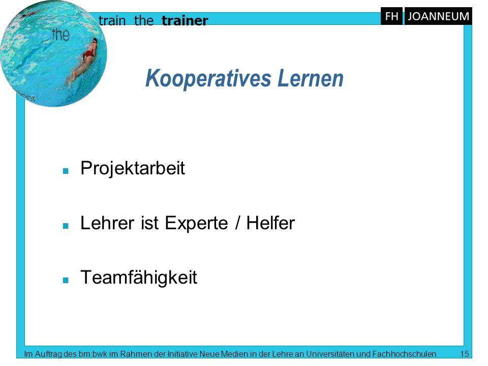 Kooperatives Lernen Projektarbeit Lehrer ist Experte / Helfer