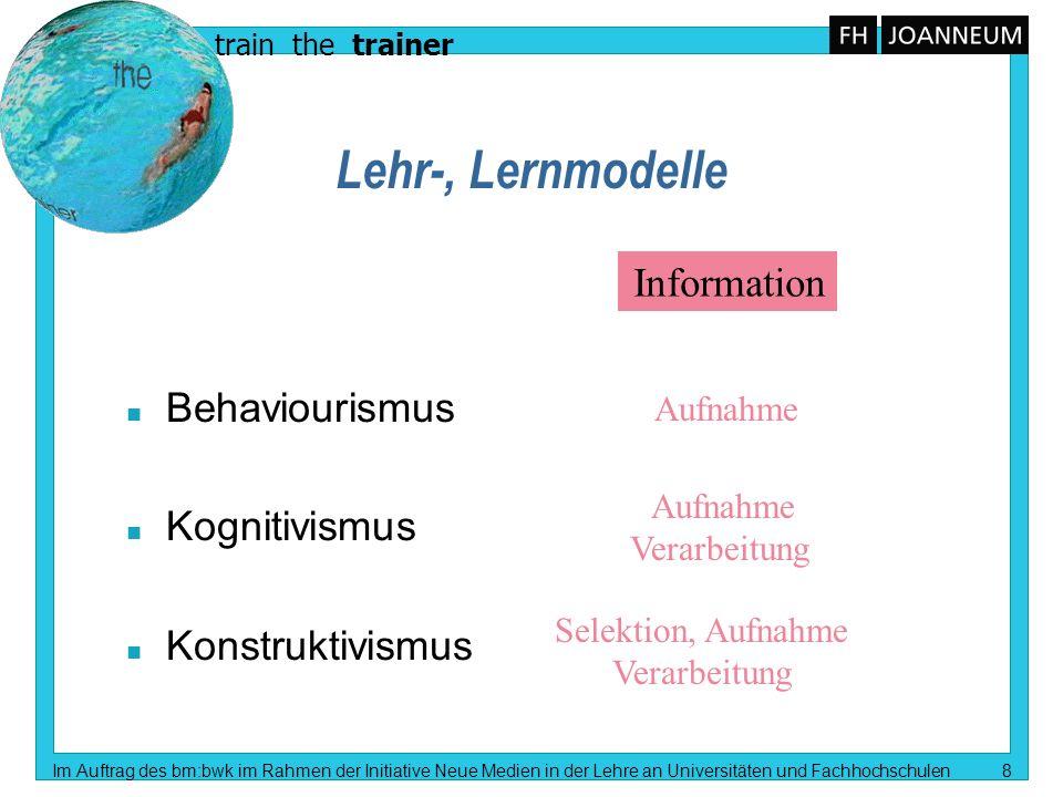 Lehr-, Lernmodelle Information Behaviourismus Kognitivismus