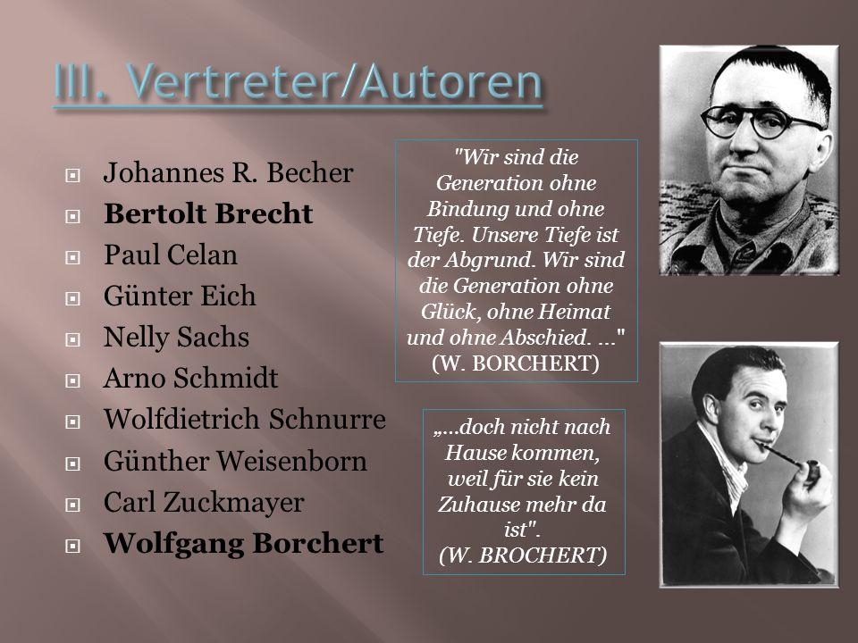 III. Vertreter/Autoren