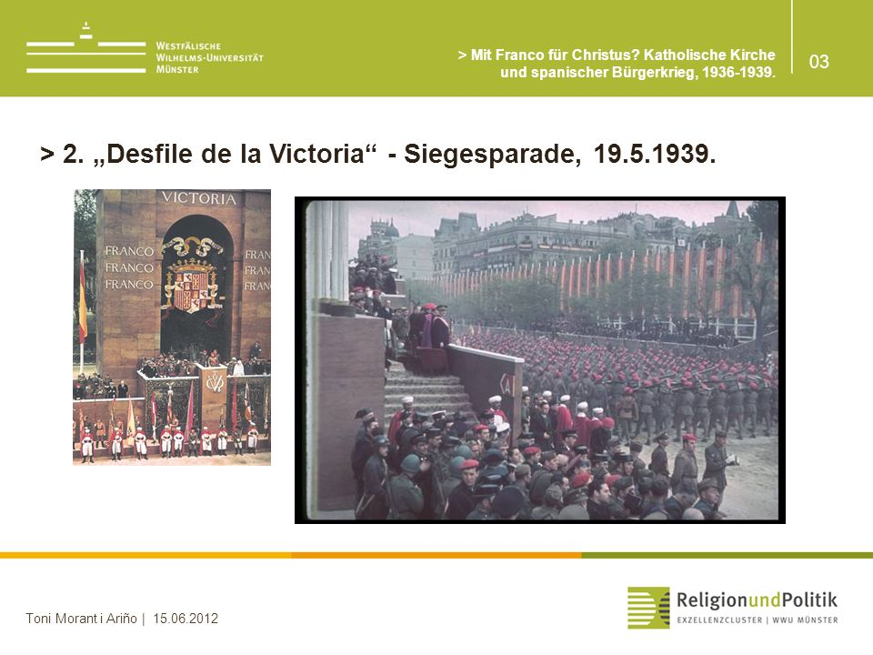 """> 2. """"Desfile de la Victoria - Siegesparade, 19.5.1939."""