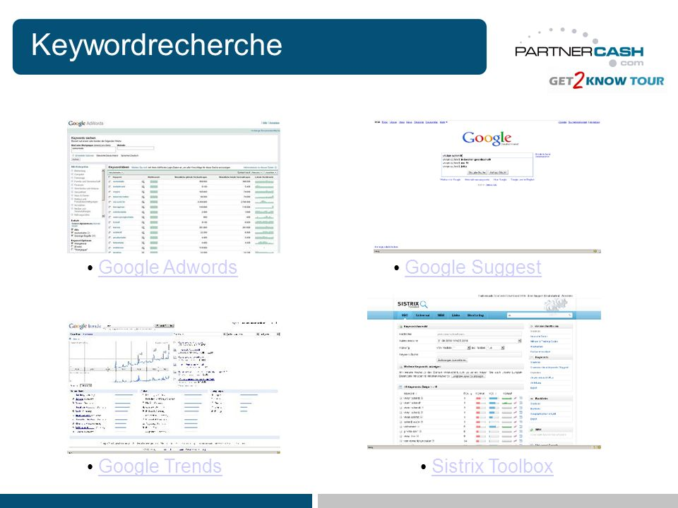 Keywordrecherche Google Adwords Google Suggest Google Trends
