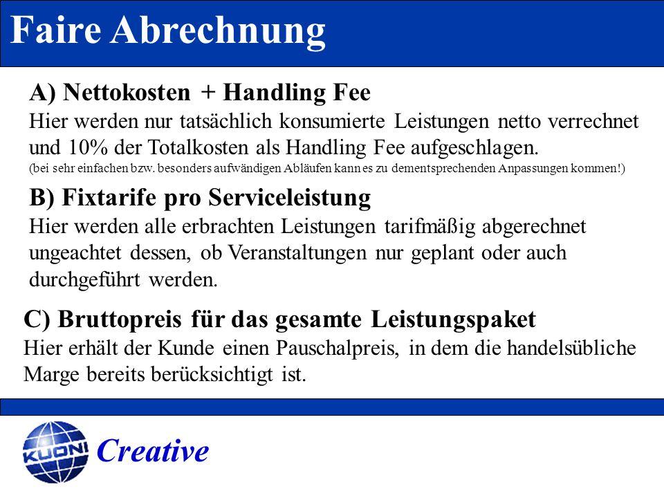 Faire Abrechnung Creative A) Nettokosten + Handling Fee