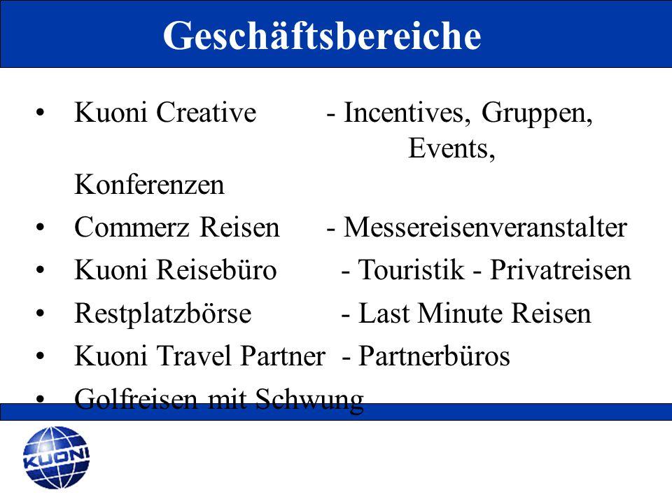 Geschäftsbereiche Kuoni Creative - Incentives, Gruppen, Events, Konferenzen. Commerz Reisen - Messereisenveranstalter.