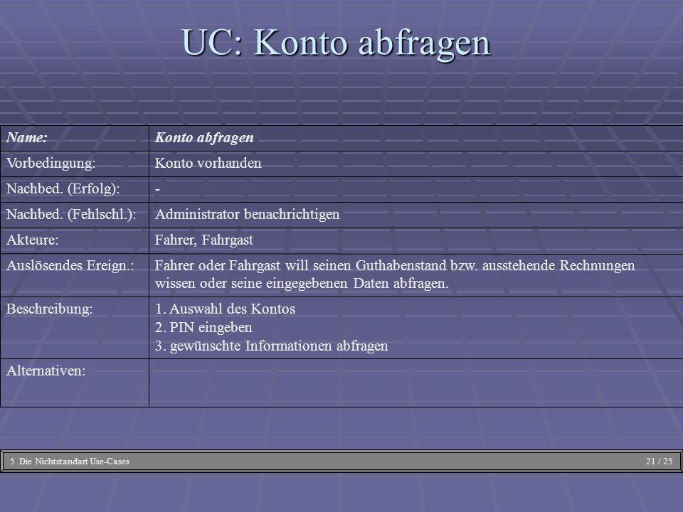 UC: Konto abfragen Alternativen: 1. Auswahl des Kontos 2. PIN eingeben