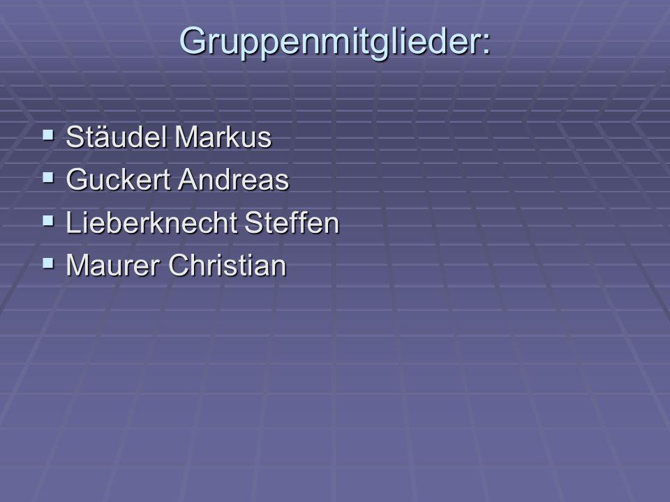 Gruppenmitglieder: Stäudel Markus Guckert Andreas Lieberknecht Steffen