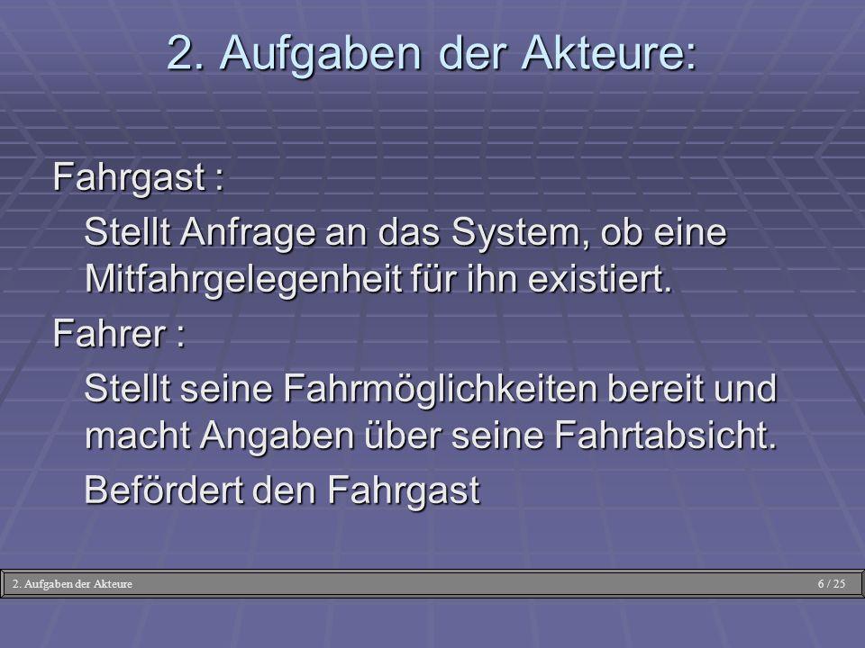 2. Aufgaben der Akteure: Fahrgast :