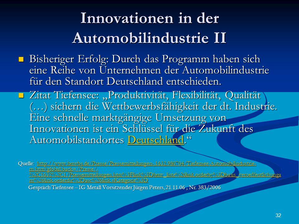 Innovationen in der Automobilindustrie II