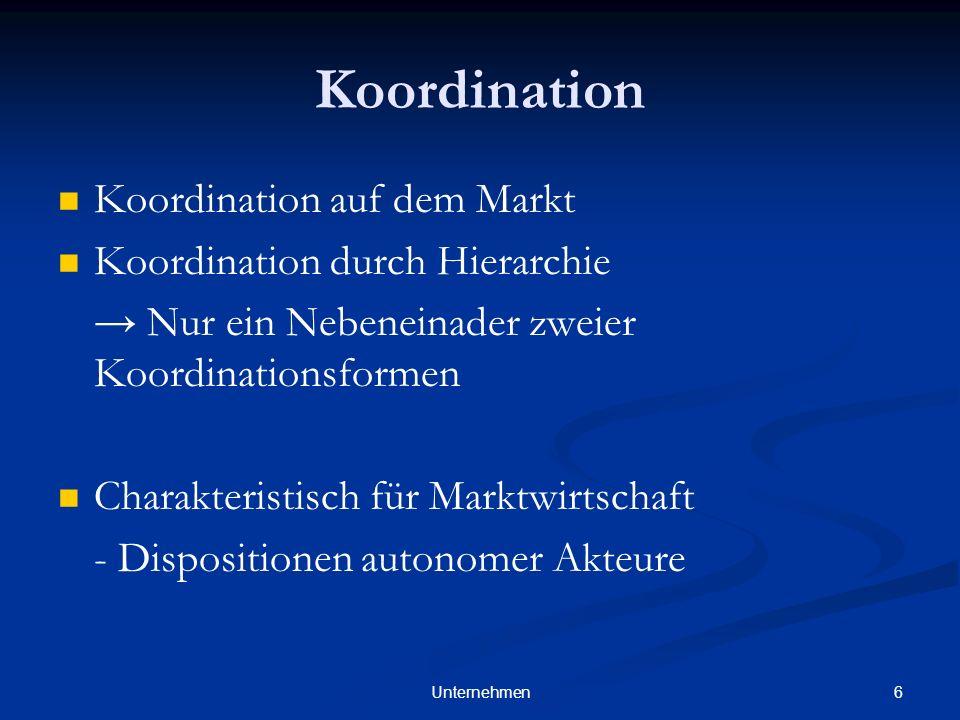 Koordination Koordination auf dem Markt Koordination durch Hierarchie