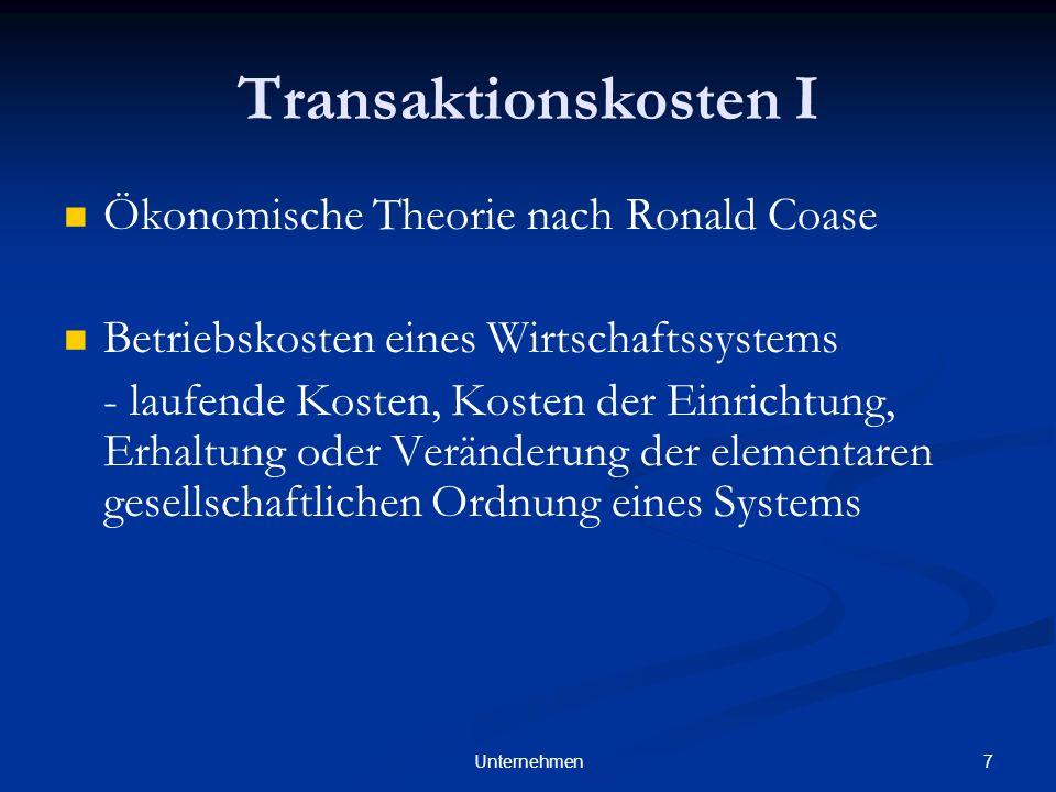 Transaktionskosten I Ökonomische Theorie nach Ronald Coase
