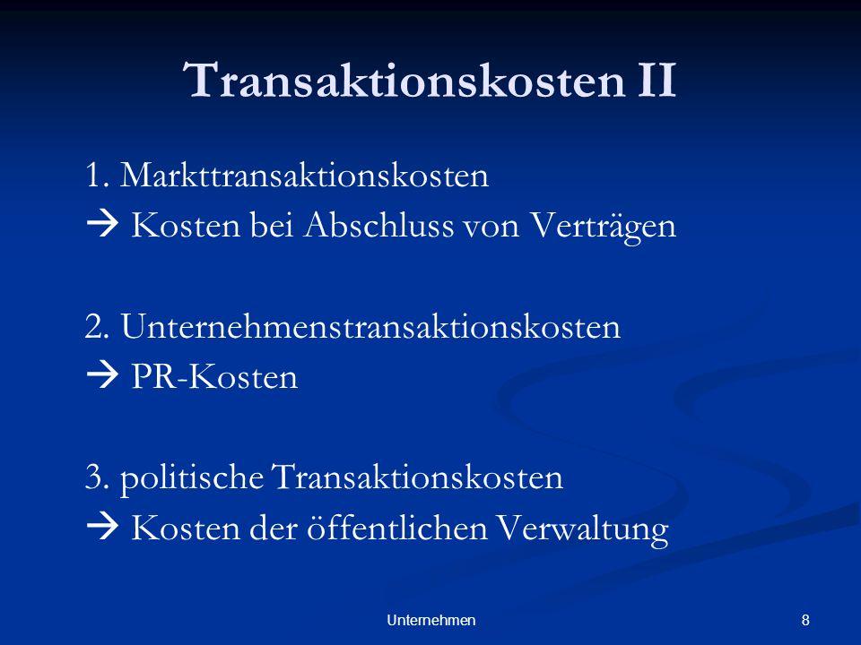 Transaktionskosten II