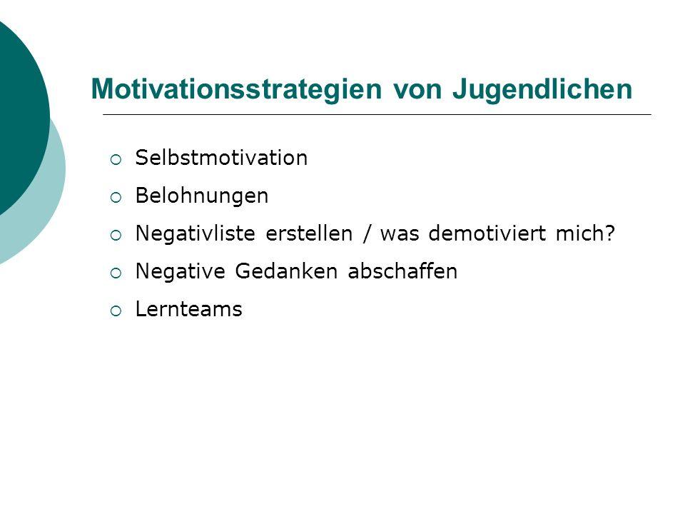 Motivationsstrategien von Jugendlichen