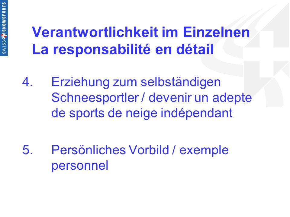 Verantwortlichkeit im Einzelnen La responsabilité en détail