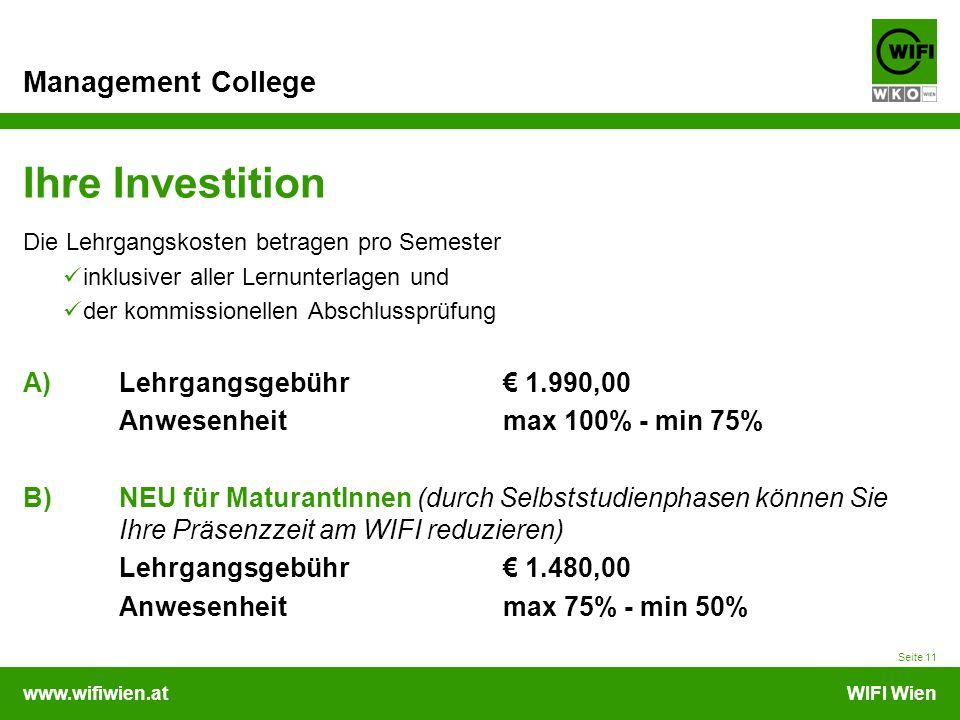 Ihre Investition A) Lehrgangsgebühr € 1.990,00