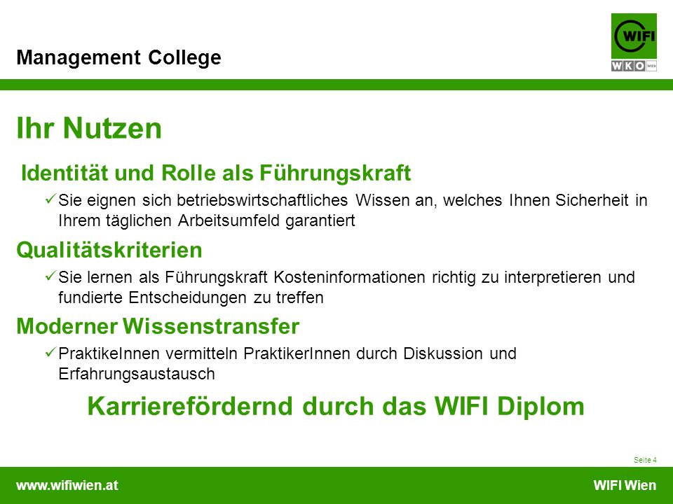 Karrierefördernd durch das WIFI Diplom