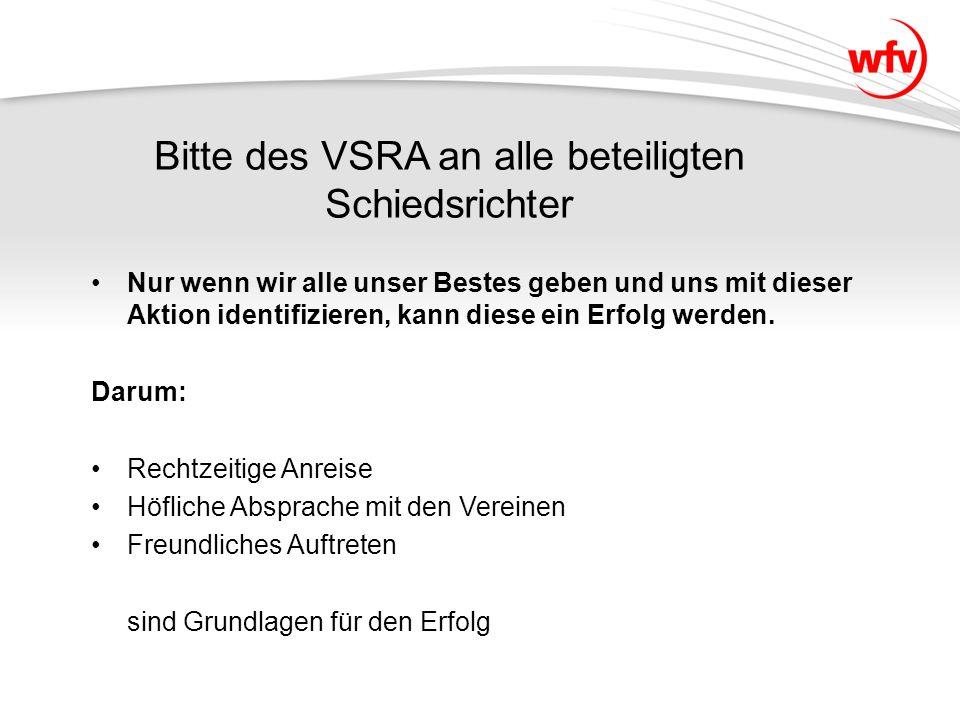 Bitte des VSRA an alle beteiligten Schiedsrichter