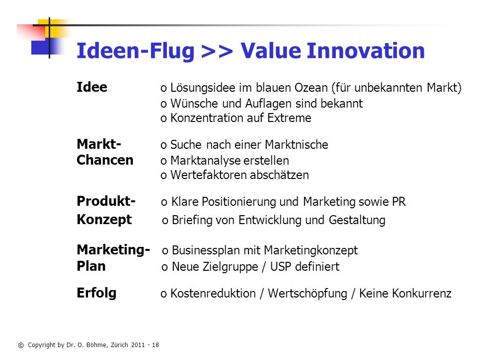 Ideen-Flug >> Value Innovation