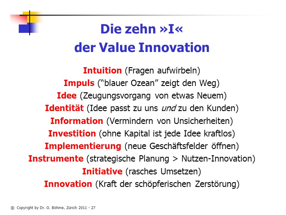 Die zehn »I« der Value Innovation