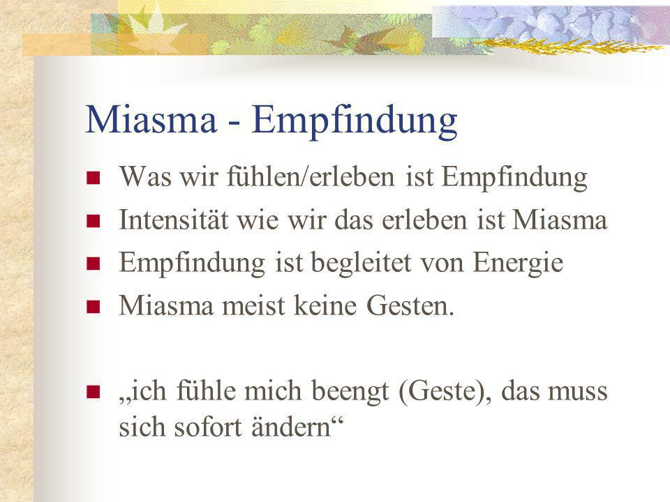 Miasma - Empfindung Was wir fühlen/erleben ist Empfindung