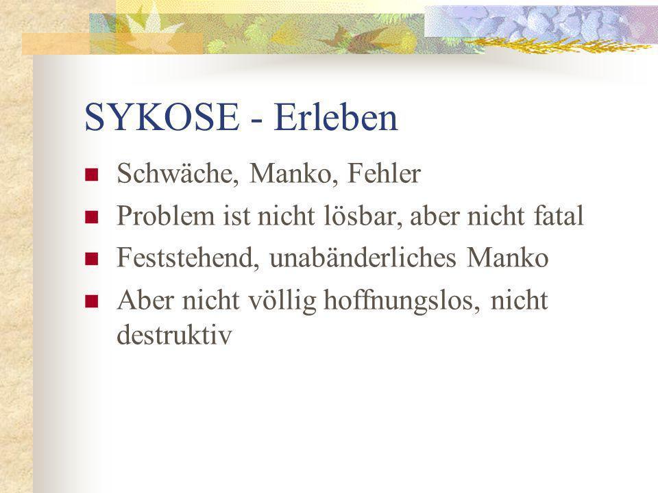 SYKOSE - Erleben Schwäche, Manko, Fehler