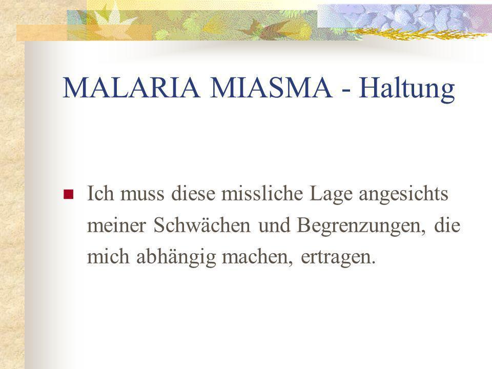MALARIA MIASMA - Haltung