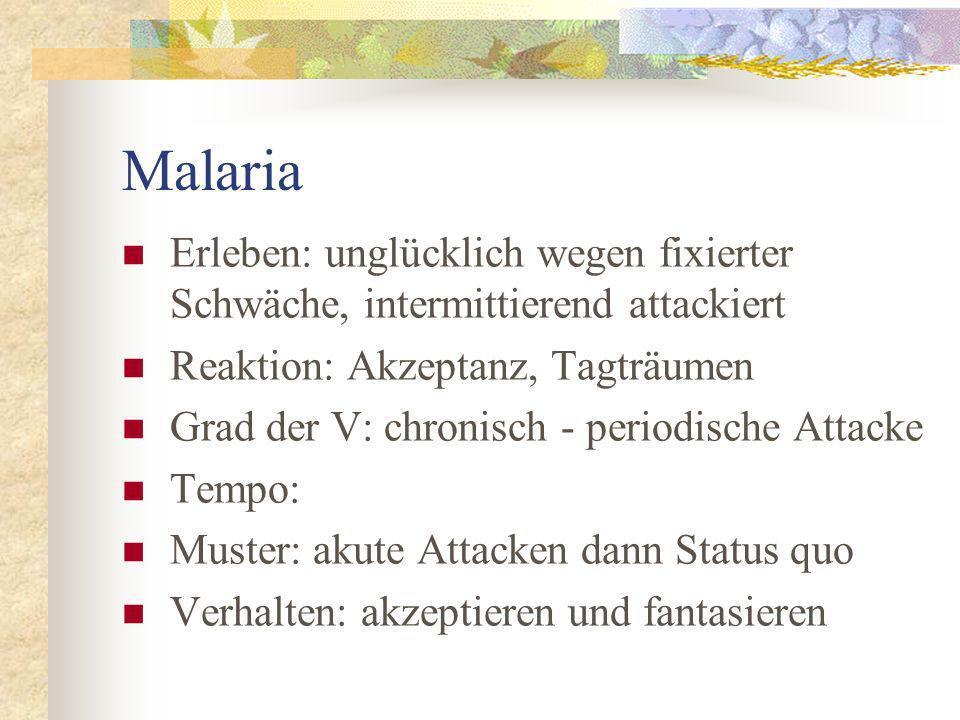 Malaria Erleben: unglücklich wegen fixierter Schwäche, intermittierend attackiert. Reaktion: Akzeptanz, Tagträumen.