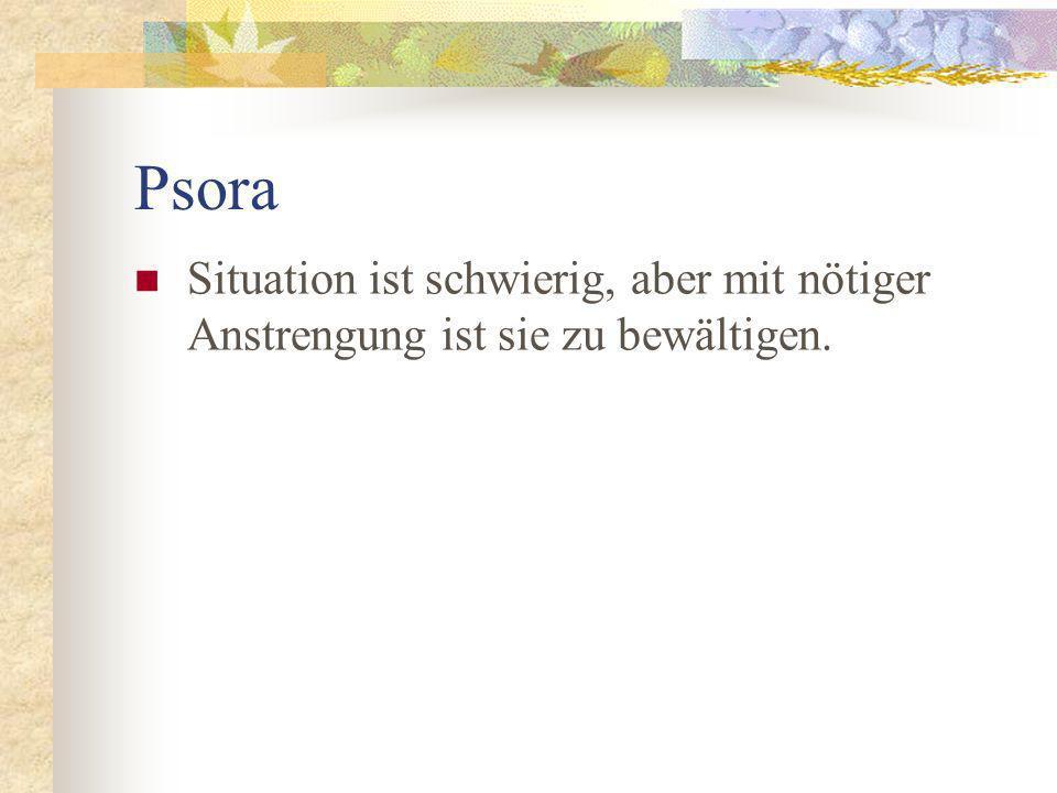 Psora Situation ist schwierig, aber mit nötiger Anstrengung ist sie zu bewältigen.