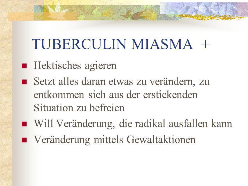 TUBERCULIN MIASMA + Hektisches agieren