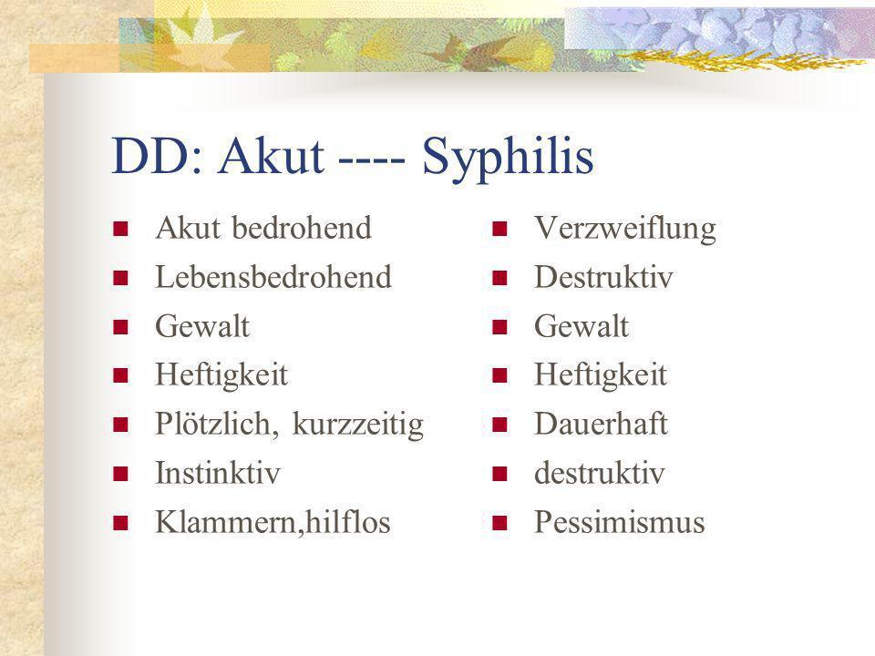 DD: Akut ---- Syphilis Akut bedrohend Lebensbedrohend Gewalt