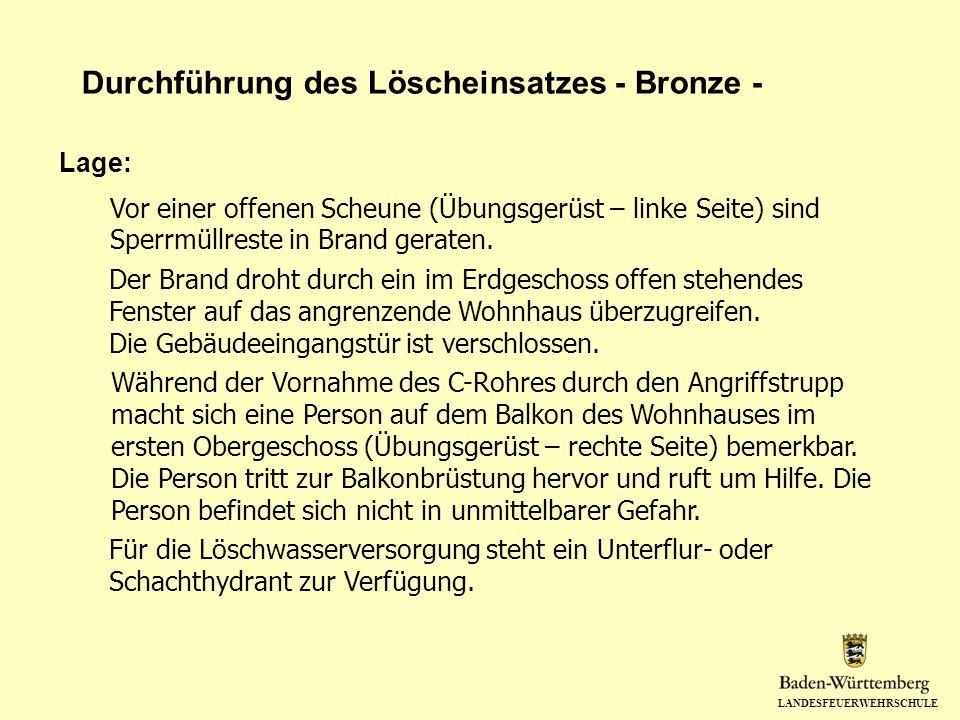 Durchführung des Löscheinsatzes - Bronze -