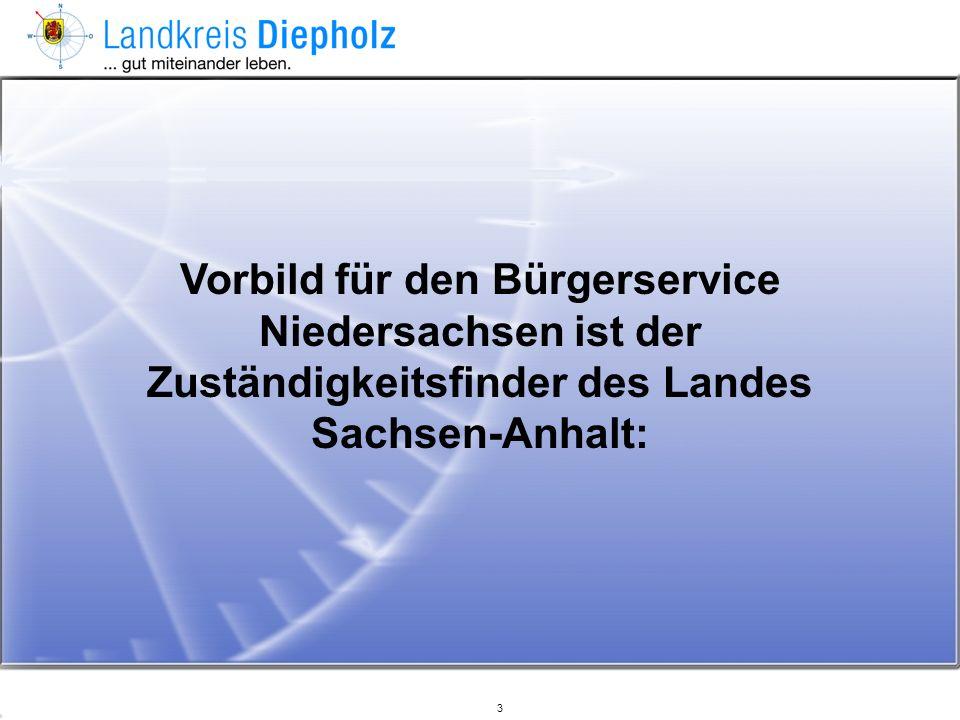 Vorbild für den Bürgerservice Niedersachsen ist der Zuständigkeitsfinder des Landes Sachsen-Anhalt: