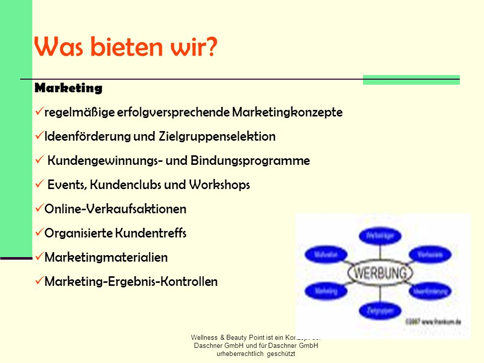 Was bieten wir Marketing