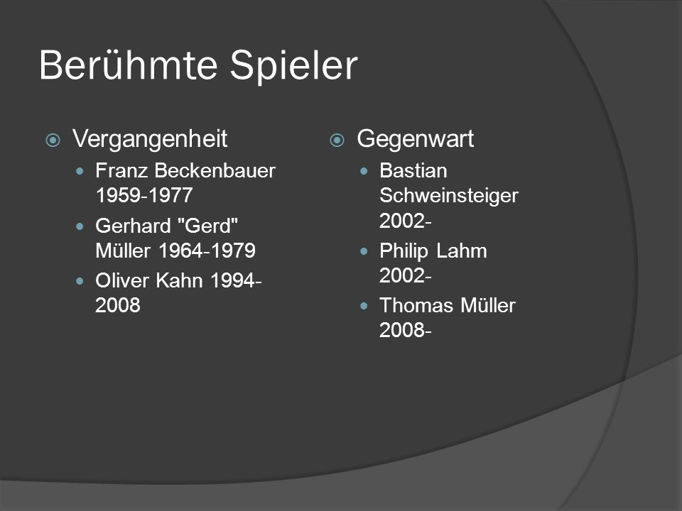 Berühmte Spieler Vergangenheit Gegenwart Franz Beckenbauer 1959-1977