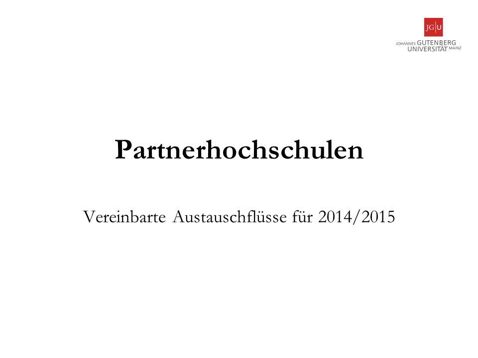 Vereinbarte Austauschflüsse für 2014/2015