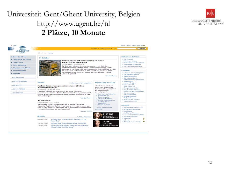 Universiteit Gent/Ghent University, Belgien http://www. ugent