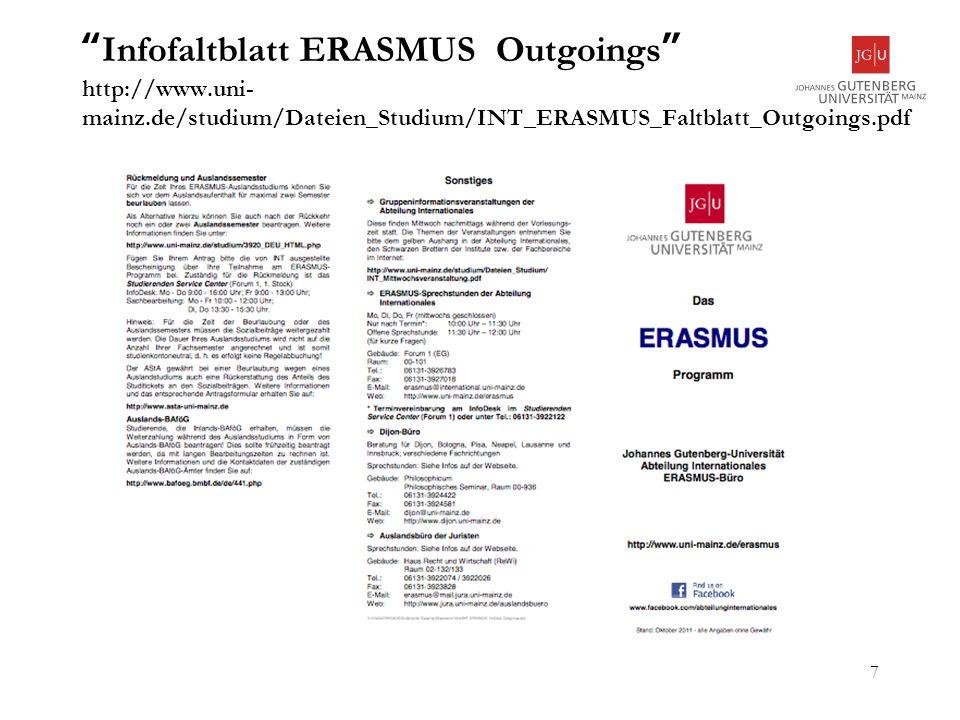 Infofaltblatt ERASMUS Outgoings http://www. uni-mainz
